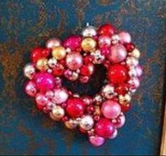 How to make a Valentine Ornament Wreath - I've made my first mommy is coocoo video. See how I used Christmas Ornaments to make a Vale… Christmas Ornament Wreath, Christmas Ornaments To Make, Heart Ornament, Valentine Wreath, Valentine Decorations, Valentine Day Crafts, Holiday Crafts, Home Crafts, Valentines