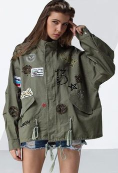 CHICEVER Embroidery Diamonds Lace Up Women Jacket Female Coat 2018 Spring  Vintage Loose Big Size Coats Armygreen Overcoat Casual d2df7f457