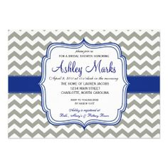 Royal Blue and Grey Chevron Invitaiton Personalized Invitations