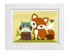 260 Fox Print  Fox and Owl Wall Art  Owl Print  by leearthaus