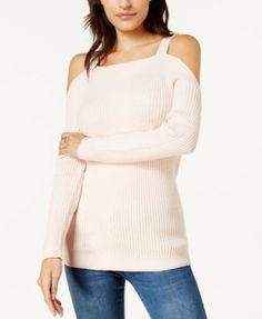 Bar Iii Ribbed Cold-Shoulder Sweater, Created for Macy's - Black XXS