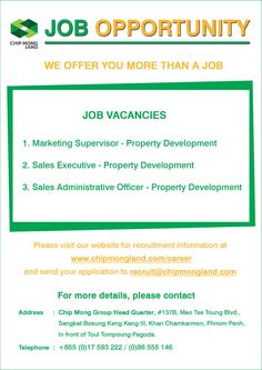 Chip Mong Land is looking for three more positions. Apply now! Property Development, How To Apply, Positivity, Marketing, Optimism