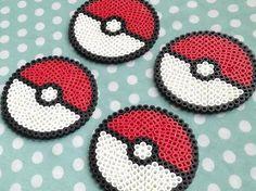 Pokemon Pokeball Inspired Perler Bead Coasters by PorcupineSpines