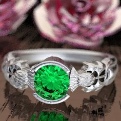 Thistle Engagement Ring, Sterling Silver & Emerald, Scottish Solitare, Floral Wedding, Handcrafted Rings, Alternative Engagement Ring 5062 by CelticEternity