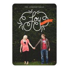 "hand lettered ""joy"" full-bleed photo holiday card invite"