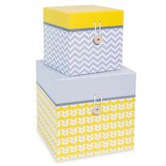 2 boîtes en carton jaunes/grises L 15 et L 20 cm YELLOW SUMMER