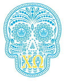 Chi O sugar skull Phi Mu, Alpha Phi, Sorority Life, Sorority Shirts, Die O, Sigma Kappa, Theta, Sorority Crafts, O Love
