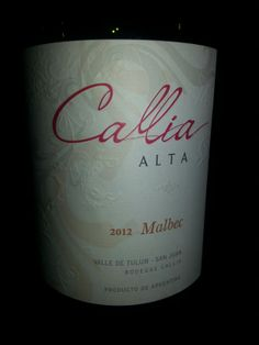 Callia Alta Malbec 2012 Tulum, Wine Time, Wines, Bottle, Wine Cellars, Flask, Jars
