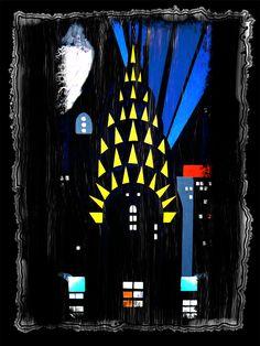 chrysler building at night art