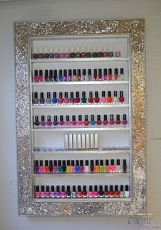 Mosaic Mirror framed display rack for beauty products- will hold approx bottles size : x 90 cms shelf height shelf depth This for one frame only This is a one off peice from our new range of mirror framed display frames – what a stunning addition to your Mirror Nail Polish, Nail Polish Storage, Mirror Nails, Nail Polish Holder, Home Nail Salon, Make Up Organizer, Nail Room, Nail Studio, Frame Display