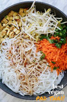 The Best Easiest Vegan Pad Thai with crispy tofu rice noodles banh pho veggies peanuts cilantro and the Best Vegan Pad Thai Sauce ever made with tamarind paste Authentic. Tofu Recipes, Vegetarian Recipes, Healthy Recipes, Vegan Dinners, Dinner Recipes, Vegan Pad Thai Sauce, Thai Vegan, Vegan Food, Tamarind Paste Recipes