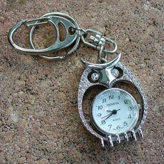 Steampunk Cute OWL- keychain-- WATCH $9.99