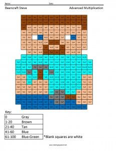 Minecraft Multiplication Coloring Pages Coloringsquared