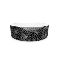 "Kess InHouse Julia Grifol ""Black Flowers"" Pet Bowl, 7-Inch, Dark Floral, Black #white #flowers #bowl #pet #dog #suplies #design #pattern #kessinhouse"