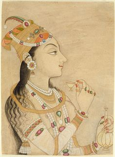 Idealized Portrait of the Mughal Empress Nur Jahan (1577-1645)?, circa 1725-1750; Watercolor. Mughal.