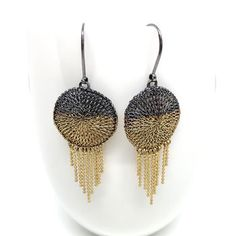 Gold dress earrings by MZ Chain Earrings, Silver Earrings, Crochet Earrings, Silver Jewelry, Wire Mesh, Gold Dipped, Gold Dress, Designer Earrings, Handmade Silver