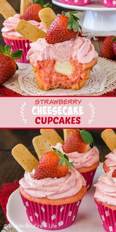 Strawberry Cheesecake Cupcakes - these easy cupcakes have a hidden no bake cheesecake filling and homemade strawberry frosting. Great cupcake recipe to make for spring parties! Strawberry Cheesecake Cupcakes, Strawberry Frosting, Strawberry Recipes, Blueberry Desserts, Lemon Desserts, Lemon Filled Cupcakes, Cupcake Recipes From Scratch, Chocolate Deserts, Decadent Cakes