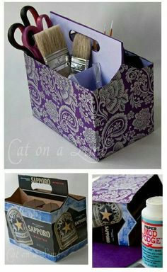 Try cola sorters and some fast food chains have 2 cup and 4 cup take away carriers. Make one for a pic nic plastic ware Craft Organization, Craft Storage, Organizing, Diy Organizer, Storage Ideas, Diy And Crafts, Crafts For Kids, Arts And Crafts, Upcycled Crafts