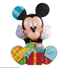 4043279 Mickey Mouse Birthday Figurine- Celebrate birthdays, holidays or just because days with this captivating and colourful Mickey Mouse designed by pop artist Romero Britto #disney #britto #mickeymouse