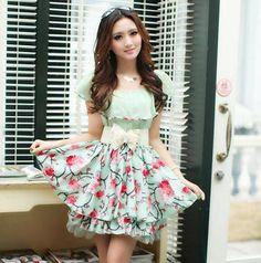 New 2014 Spring Summer Casual Dress Cute Temperament Chiffon Short Sleeve Flower Print Dresses With Belt $19.80