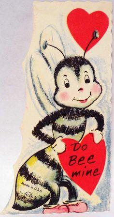 J1160 50s do Bee Mine Vintage Diecut Valentine Card | eBay