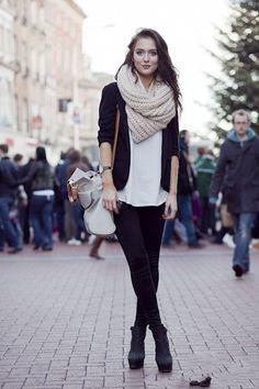 black cardigan, loose white tee, chunky scarf, skinny black pants, black boots