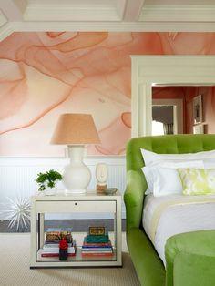 Haute Hamptons Bedroom by Robert Passal Interior & Architectural Design Peach Wallpaper, Of Wallpaper, Watercolor Wallpaper, Custom Wallpaper, Watercolor Walls, Watercolors, Color Combinations Home, Color Combos, Color Schemes