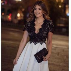 Lace Prom Dress,Short Sleeve Prom D..