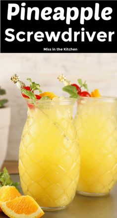 Pineapple screwdriver cocktails are super simple to make! easy to mix up by the glass or the pitcher with pineapple juice orange juice and vodka great for get togethers with friends game day gatherings or your next cocktail party cherry moon Cocktails Halloween, Fun Cocktails, Summer Drinks, Fun Drinks, Easy Vodka Drinks, Simple Cocktail Recipes, Easy To Make Cocktails, Beverages, Popular Cocktails
