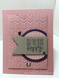 Stampin' Up! handmade card from ARTfelt Impressions: Yippee Skippee Happy! like the clean lines and the tone on tone panel with embossing on top . Quick Cards, Cool Cards, Diy Cards, Embossed Cards, Card Sketches, Copics, Creative Cards, Greeting Cards Handmade, Scrapbook Cards