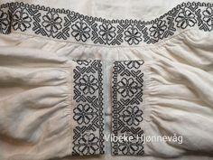 Mønsteret er hentet fra en gammel skjorte på De Heibergske Samlinger i Kaupanger. Brodert av Vibeke Hjønnevåg Blackwork, Boho Shorts, Women, Fashion, Moda, Women's, Fasion, Trendy Fashion, La Mode