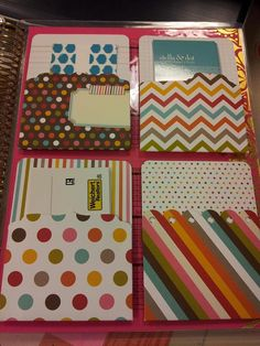 just got my very first Erin Condren planner today.  first customized - adhered pockets on inside back cover to hold my various business cards.  love!!