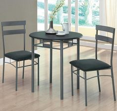 Black / Silver Metal 3Pcs Bistro Set   Contemporary   Dining Tables    Modern Furniture Warehouse