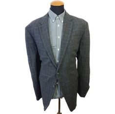 Men-Atelier-Torino-Blazer-size-52-Plaid-Gray-Sport-Jacket-Wool-Checks-Big-Cotton