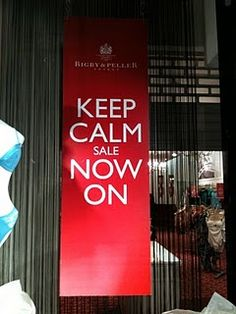 Keep calm sale now on, Rigby and Peller sale design