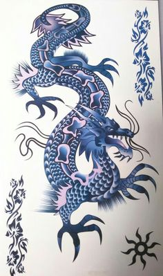 [Visit to Buy] Waterproof Temporary Tattoo Sticker dragon for men tatto stickers flash tatoo fake tattoos Dragon Tattoo Sticker, Blue Dragon Tattoo, Chinese Dragon Tattoos, Tatouage Game Of Thrones, 3d Art Painting, Body Painting, Dragon Bleu, Ying Y Yang, Realistic Temporary Tattoos