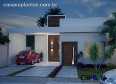 fachada noturna casa com laje sem telhado