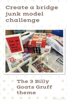 The Three Billy Goats Gruff Creative Area. Junk model challenge for EYFS