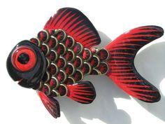 Metal Bottle Cap Fish Wall Art - Goldfish via Etsy