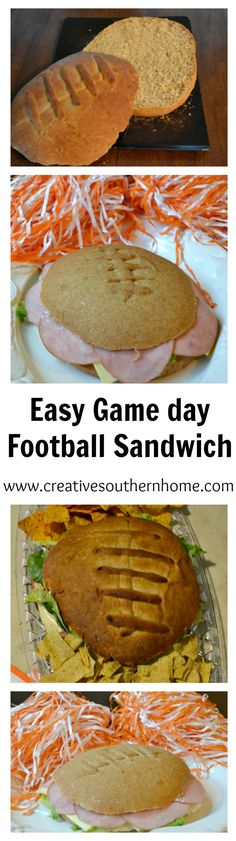 Easy game day football sandwich.  Make your game day amazing with this fun and GIANT sandwich.  www.creativesouthernhome.com