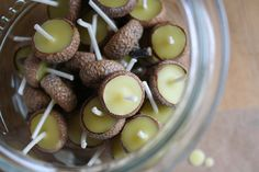 DIY float mini acorn cap candles in water. Homemade Christmas Gifts, Christmas Diy, Yule, Fall Dishes, Diy Candles, Floating Candles, Fire Starters, Handmade Home Decor, Candle Making
