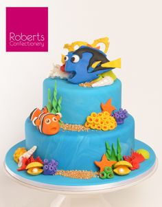 Finding Dory & Finding Nemo Cake for the home baker. Full recipe available on Roberts Confectionery website: http://www.robertsconfectionery.com.au/pages/recipe-sheets