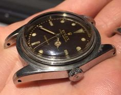 1954-Very-Rare-Rolex-Submariner-No-Crown-Guard-ref-6205-034-BROWN-DIAL-034