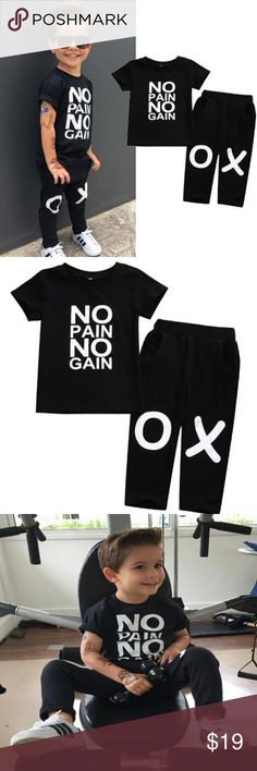 """Toddler child kid boy 3T outfit NWOT Black ss shirt """"no pain no gain"""" long black pants with pockets new never worn Matching Sets"""