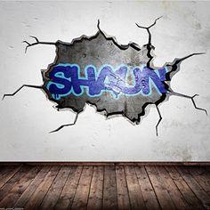 PERSONALISED GRAFFITI NAME cracked 3D wall sticker urban decal boys girls mural Wall Smart Designs http://www.amazon.co.uk/dp/B00SNLV76E/ref=cm_sw_r_pi_dp_J4Rgvb02K83A4