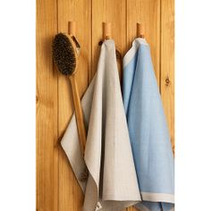 Convenient hooks in sauna for brushes and towels