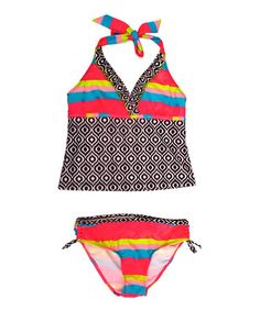 Look what I found on #zulily! Black Rainbow Stripe Tankini - Girls #zulilyfinds