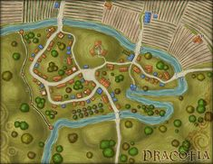 A small farming town with a widespread dragon-worshipping cult. Copper Dragon, Silver Dragon, Fantasy City Map, Farm Town, Village Map, Background Drawing, Hope Symbol, Call Of Cthulhu, Us Map
