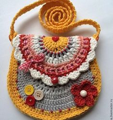 Crochet For Kids, Easy Crochet, Crochet Baby, Knit Crochet, Crochet Purse Patterns, Crochet Pouch, Crochet Handbags, Crochet Purses, Crochet Crafts