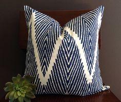 Navy Blue & White Chevron Pillow Cover Navy Blue by StudioPillows